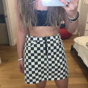 BDG Urban Outfitters Checkered Denim Mini Skirt